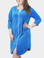 Халат велюровый женский светло-синий с полосатыми вставками ВП003
