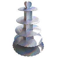 Стенд пятиярусный картонный круглый для капкейков серебряного цвета с голограммой (шт)