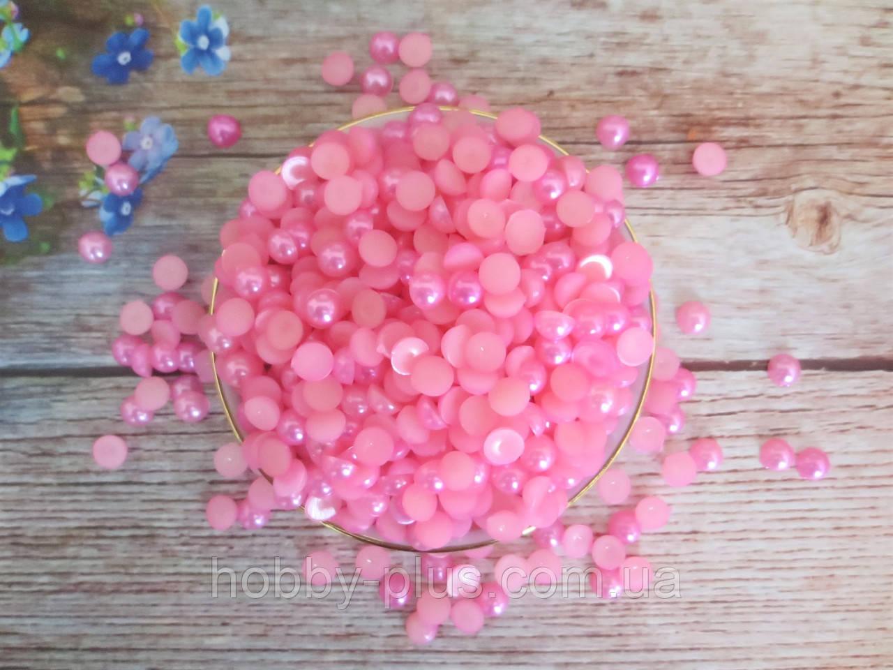 Полубусины перламутровые, 8 мм, цвет розовый, 10 грамм (76-80 шт)