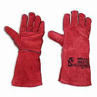 Перчатки рабочие кожаные, краги, пятипалые, большие WELDING MASTER,  красные