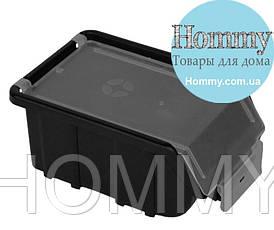 Облегченный органайзер-контейнер для инструментов 170х110х75 мм с крышкой (черный)