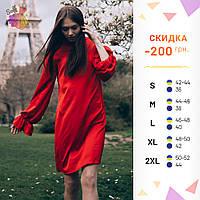 8fd6ab2b224d7f4 Шелковое красное платье AVELINA прямого фасона с рюшами и широкими рукавами  на сборке