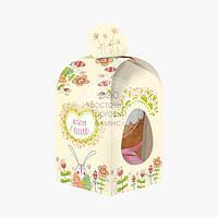 Коробка для кулича с окном №2 - Бежевые зайцы - 300-350 г