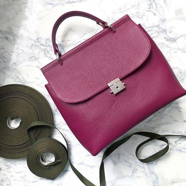 Женская кожаная сумка малиновая