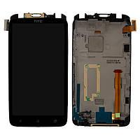 Дисплейный модуль (дисплей + сенсор) для HTC One X S720e G23, c передней панелью, черный, оригинал