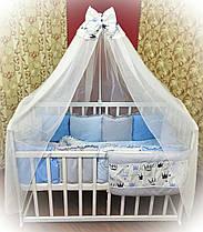 """Детский комплект постельного белья """"Минки"""" с подушками 7 предметов голубой"""