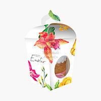 Коробка для кулича с окном №5 - Цветы - 350-500 г
