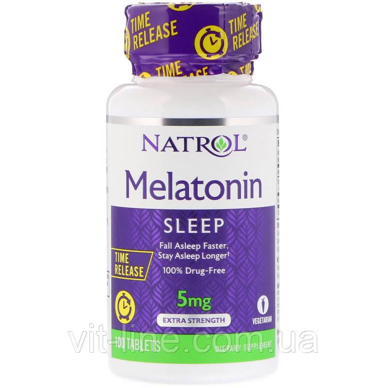 Natrol, Мелатонин, медленное высвобождение, с повышенной силой действия, 5 мг, 100 таблеток