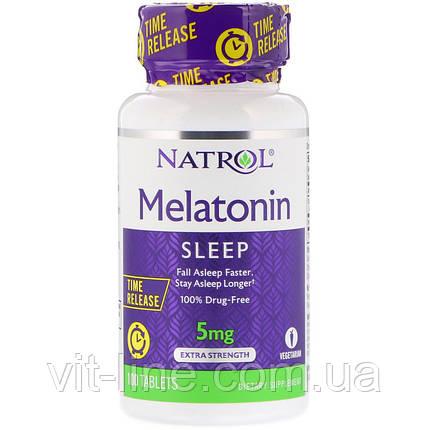 Natrol, Мелатонин, медленное высвобождение, с повышенной силой действия, 5 мг, 100 таблеток, фото 2