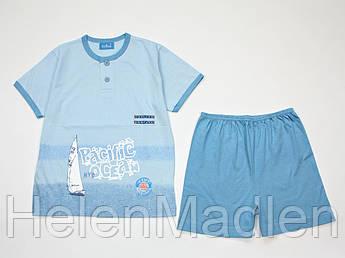 Пижама летняя хлопковая детская футболка шорты Eclisse голубая Италия