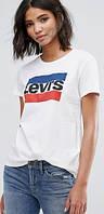 """Футболка женская """"Levis"""", левис белая, фото 1"""