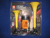 Сигнал дудка с компрессором 2шт желтый 165/215мм 12V ДК