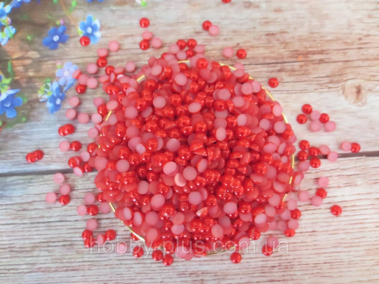 Полубусины перламутровые, 6 мм, цвет красный, 5 грамм (80-90 шт)