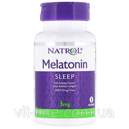 Natrol, Мелатонин, 3 мг, 60 таблеток, фото 2