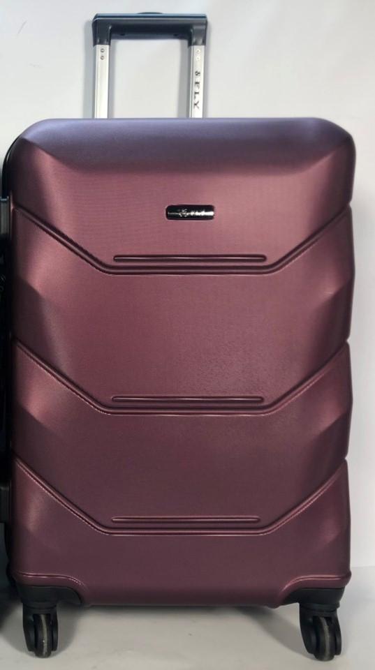 Средний пластиковый чемодан FLY 147 на 4 колесах Бордовый