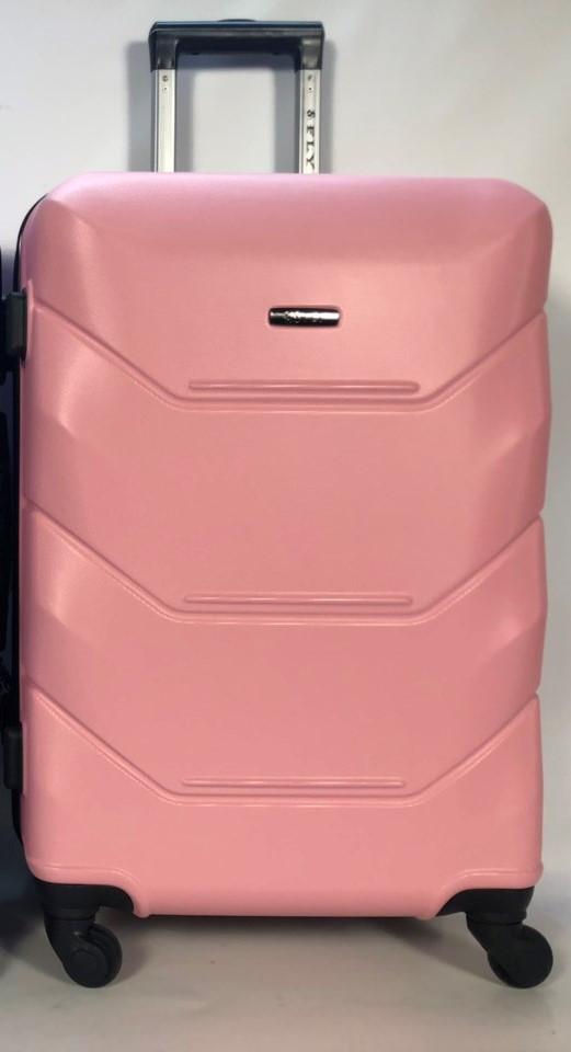 Средний пластиковый чемодан FLY 147 на 4 колесах Розовый