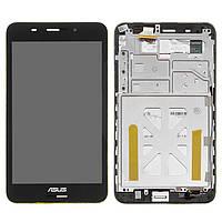 Дисплейный модуль (дисплей + сенсор) для Asus FonePad 7 ME375, с рамкой, черный, оригинал