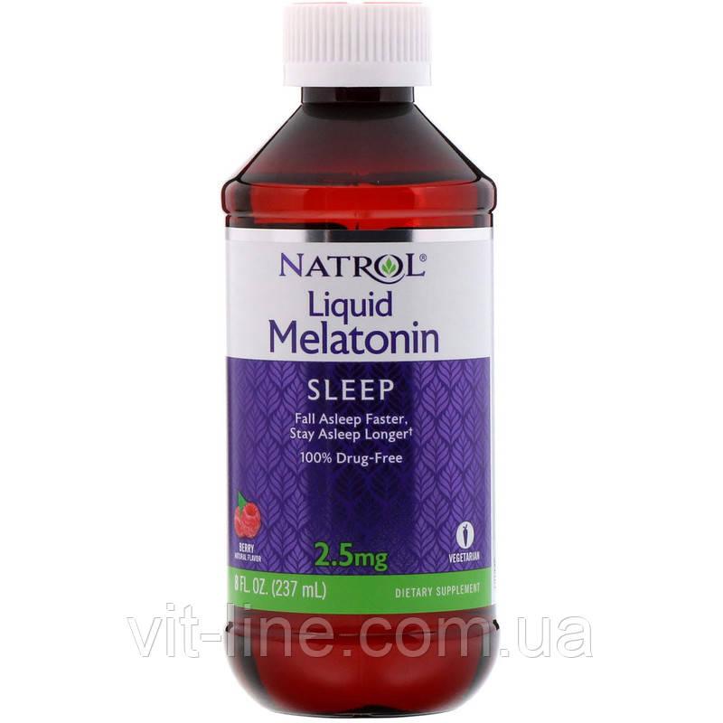 Natrol, Жидкий мелатонин, сон, натуральный ягодный вкус, 2,5 мг,  (237 мл)