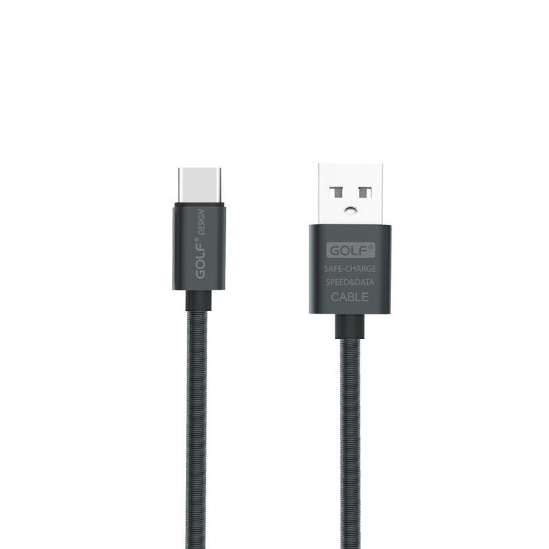 USB кабель Golf Metal Spring Type-C Black (GC-37t)