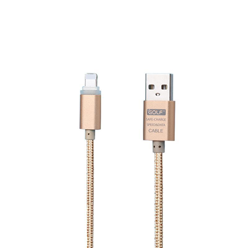 USB кабель Golf Braided LED iPhone 6 Gold (GC-12i)