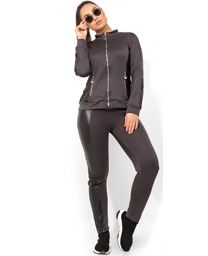 Серый спортивный костюм со вставками из эко кожи размеры от XL 2242