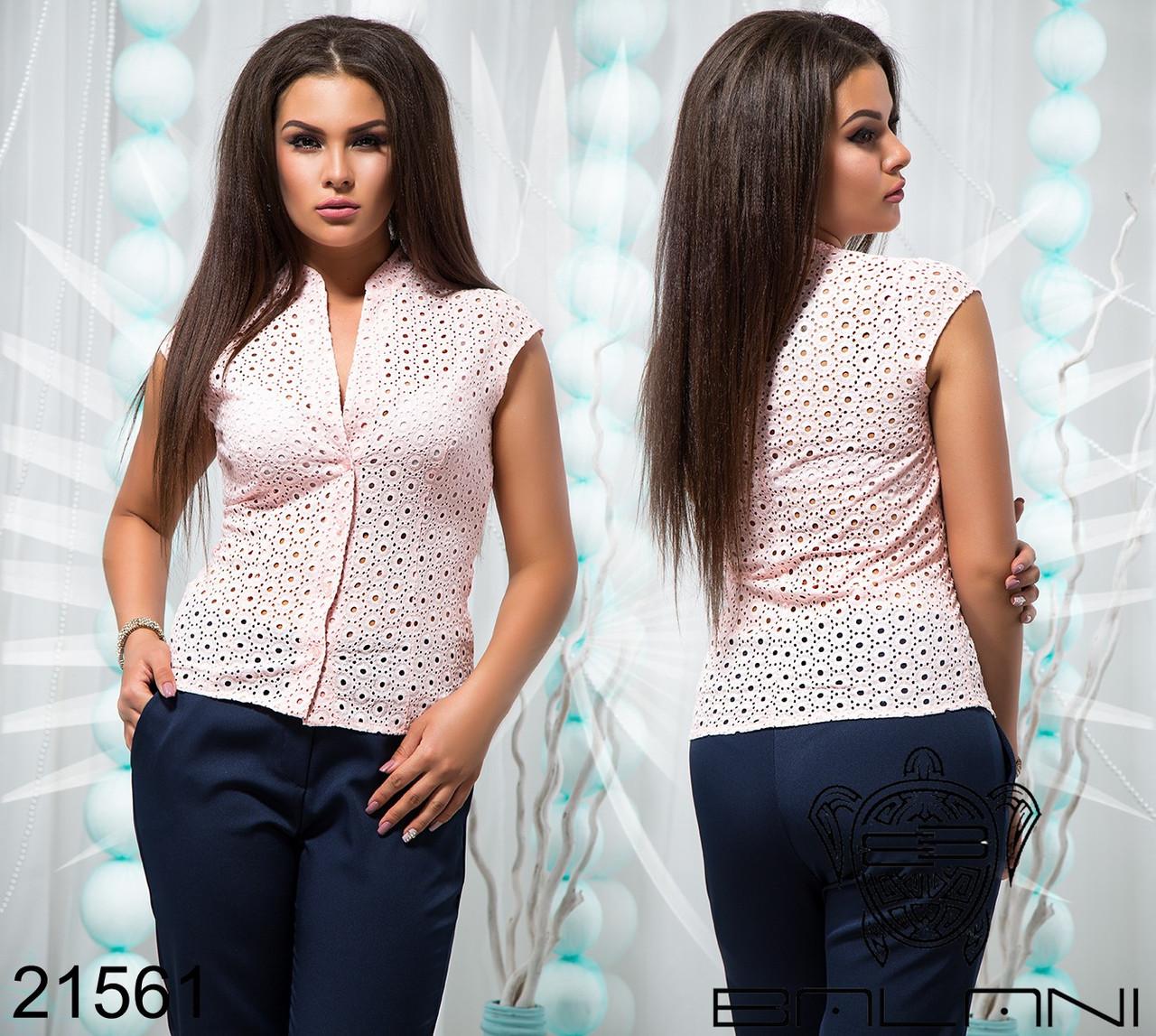 Летняя женская блуза из прошвы большого размера 48-54