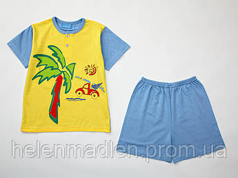 Пижама Eclisse хлопковая летняя жолто-голубая футболка шорты  Италия