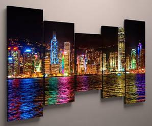 Картина модульная ночной город холст 125х70