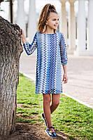 Модное  детское платье-трапеция на девочку р. 116-128 джинс, фото 1