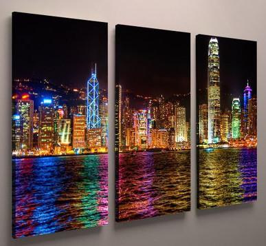 Фото картина модульная ночной город холст 90х60
