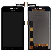 Дисплейный модуль (экран и сенсор) для Asus ZenFone 4 (A450CG), черный, оригинал