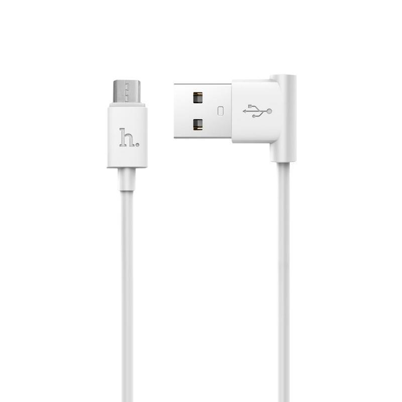 USB кабель Hoco UPM10 MicroUSB (L Shape) White 1.2m
