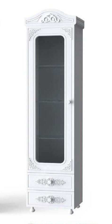 """Шкаф Пенал со стеклом """"Анжелика"""" 52х42х206 см. Белый матовый"""
