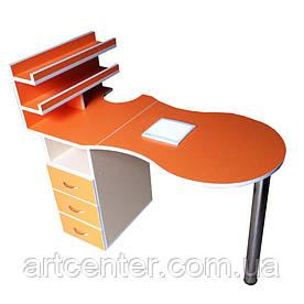 Манікюрний стіл з витяжкою, помаранчевий стіл для манікюру з ящиками і поличкою для лаків