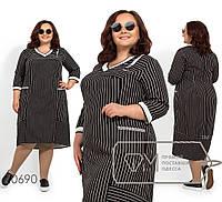 Платье-миди большого размера с принтом - диагональные полосы, V-образным вырезом, рукавами 3/4, 2 цвета