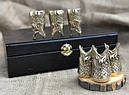 """Подарунковий набір бронзових чарок """"Царський улов"""" 6 штук, в кейсі з еко-шкіри, фото 2"""