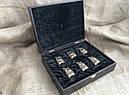 """Подарунковий набір бронзових чарок """"Царський улов"""" 6 штук, в кейсі з еко-шкіри, фото 3"""