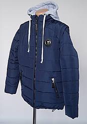 Куртка жилетка для мальчиков с трикотажным капюшоном(140-158 р)