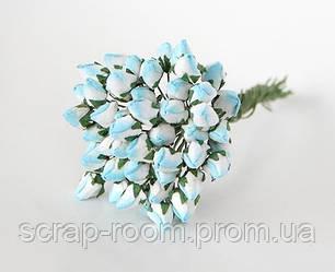 Роза бутон закрытый бирюзово-белый 1 см, бутоны розы закрытые бирюза, бирюзовые бутоны роз, цена за 1 шт