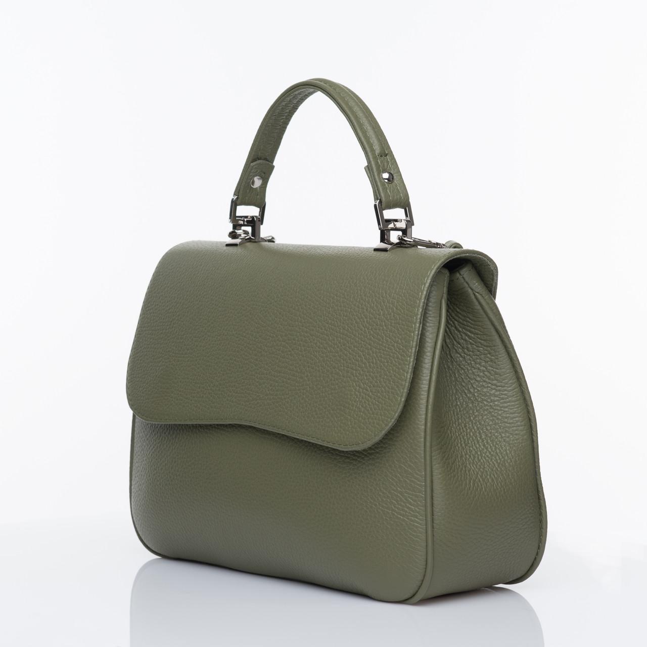 Женская кожаная сумка хаки 25*19*10 см
