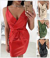 Кожаное платье на бретельках с поясом 18430, фото 1
