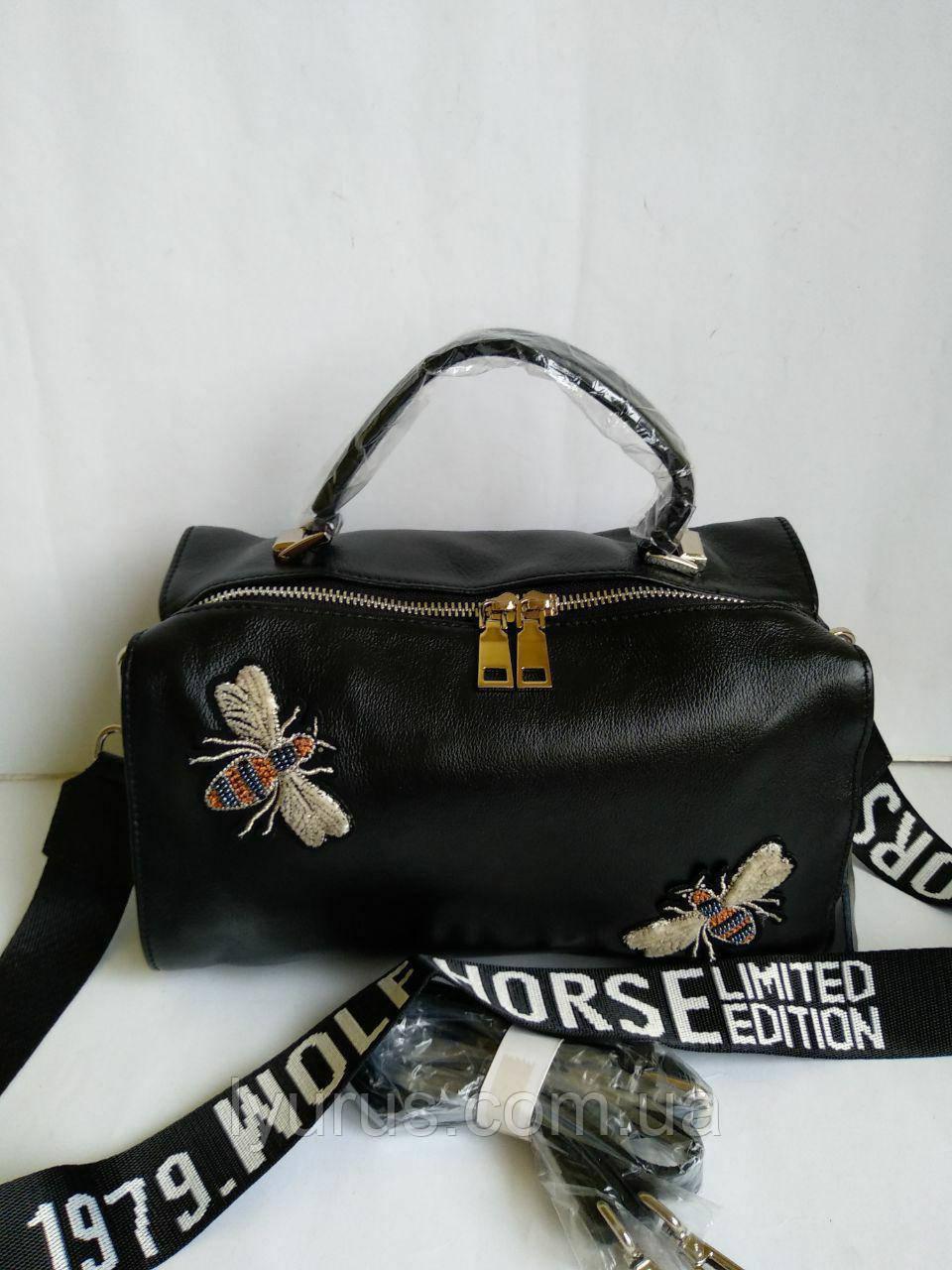 Женская кожаная сумка в стиле Gucci