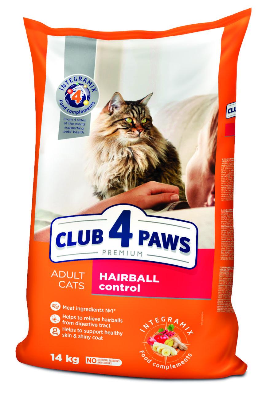 Корм Клуб 4 лапи Hairball Control 5 кг для виведення грудок вовни у кішок і котів
