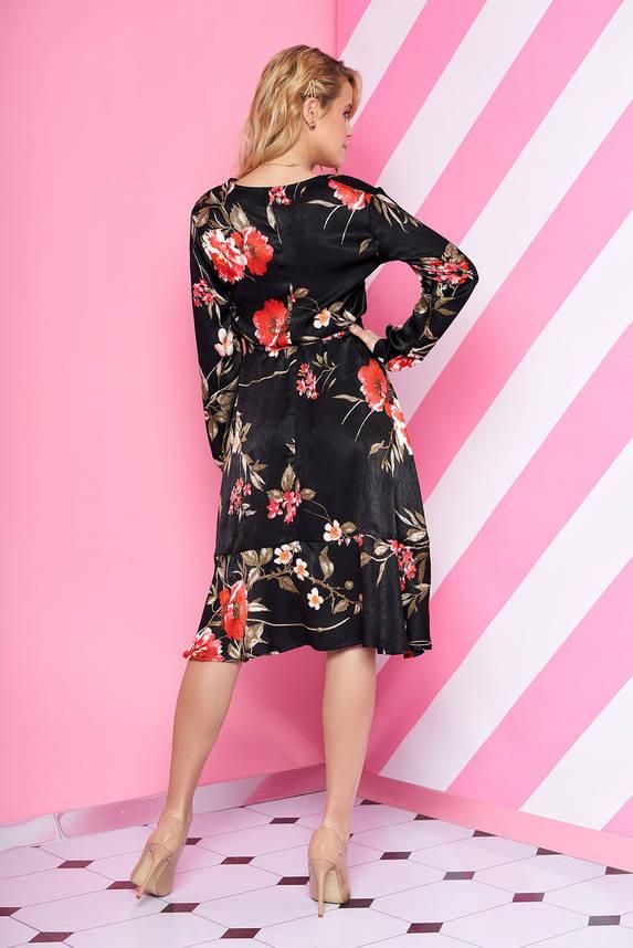 Шелковое платье миди с цветочным принтом черное, фото 2