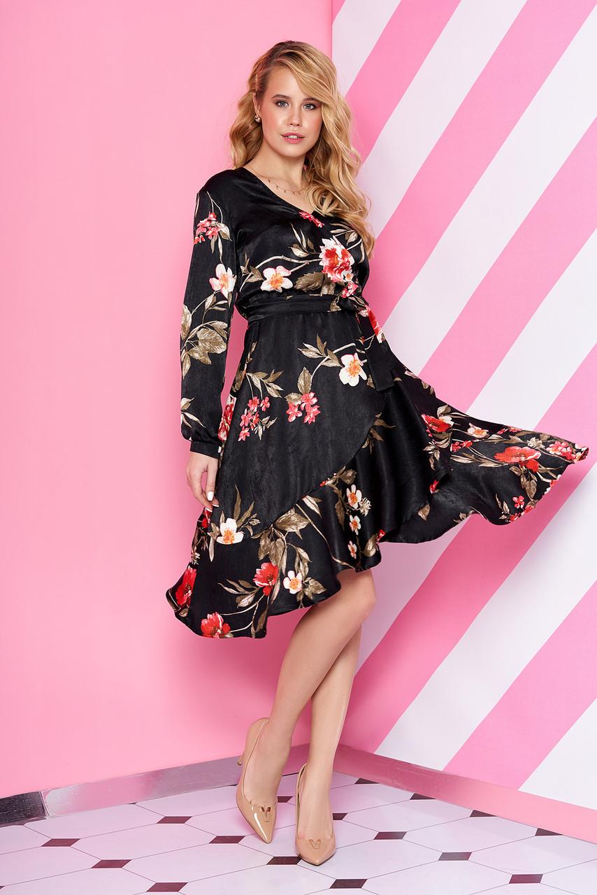 Шелковое платье миди с цветочным принтом черное