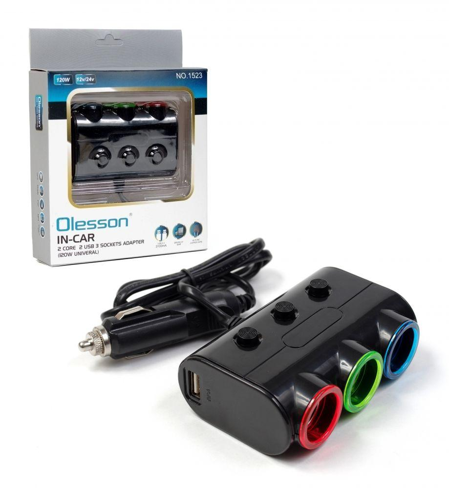 Розгалужувач прикурювача автомобільний OLESSON 1523 2-USB (3.1 A): 1A+A 2.1 + 3 авторозетки 12V