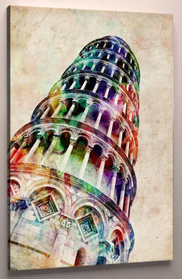 Картина яркая Пизанская Башня 60х40