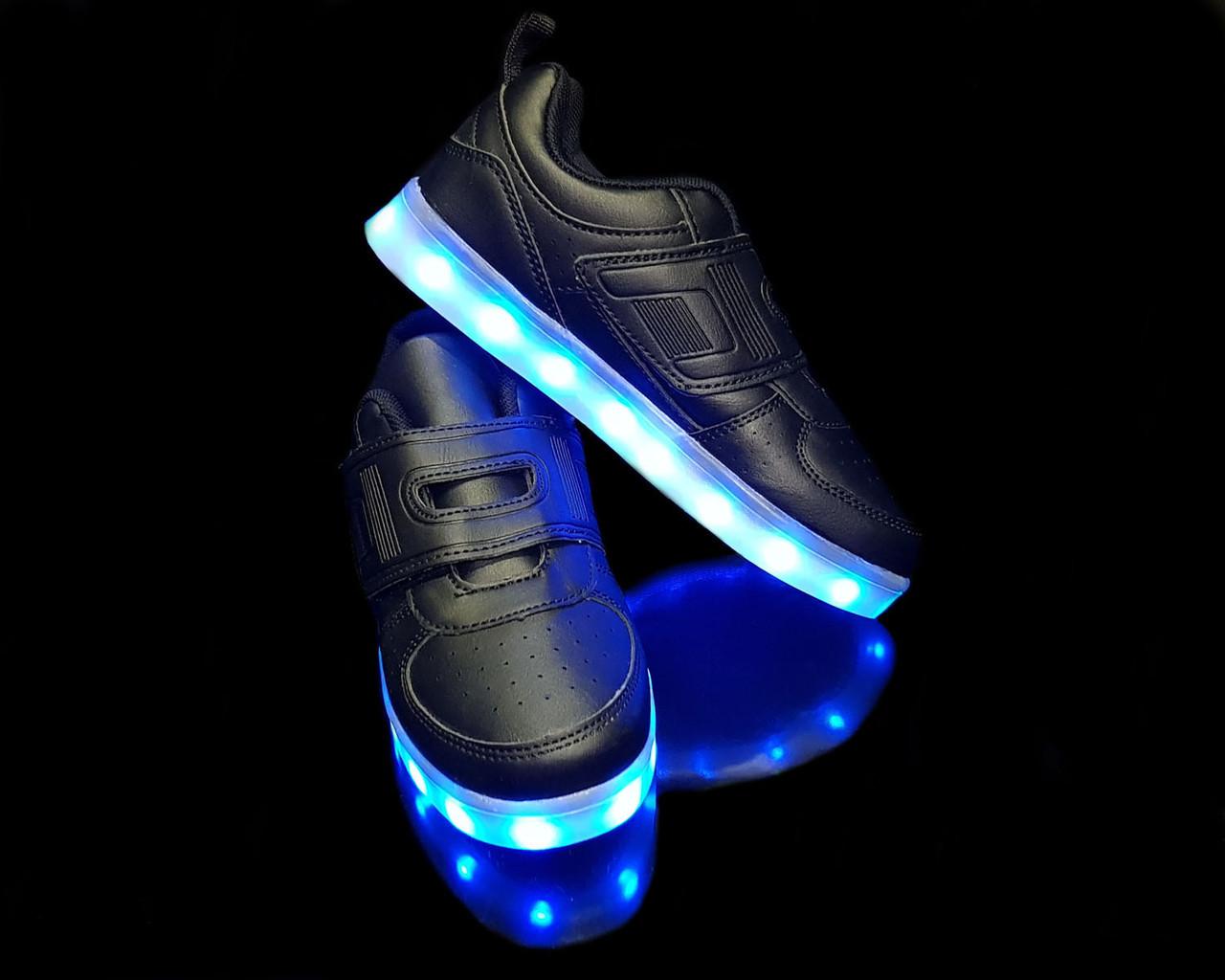 Кроссовки LED липучка Black 687