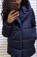 Синяя женская куртка удлинённая