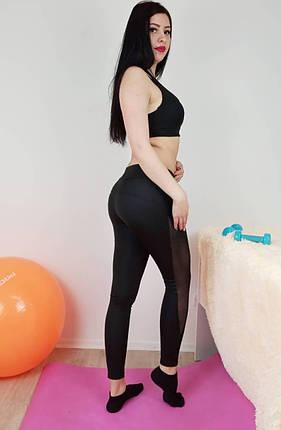 Спортивный женский черный комплект одежды для фитнеса и йоги 42-48р, фото 2